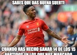 Enlace a Sterling da buena suerte al Liverpool