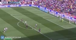 Enlace a GIF: Gol de Luis Suárez al segundo 55 de partido