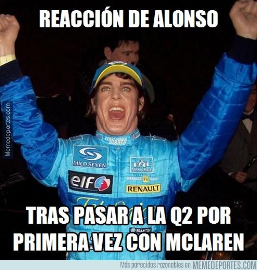 512804 - Reacción de Alonso al pasar a la Q2 por primera vez con McLaren