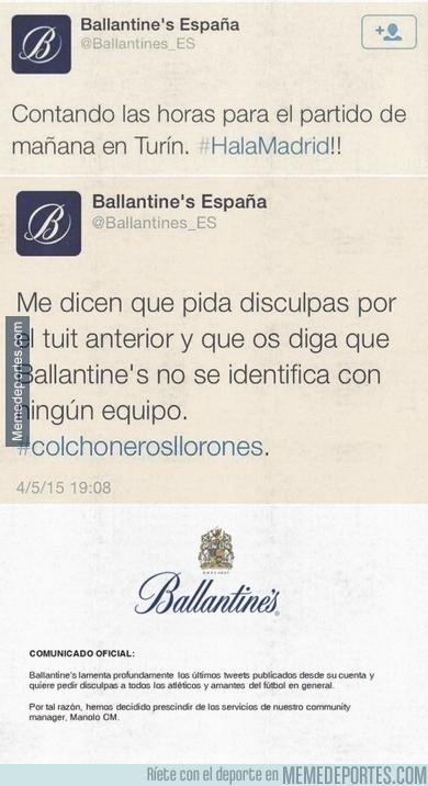 535034 - Despedido el CM de Ballantines por posicionarse a favor del Madrid y ofender a los atléticos