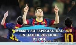 Enlace a A Messi le gusta hacer réplicas de sus goles