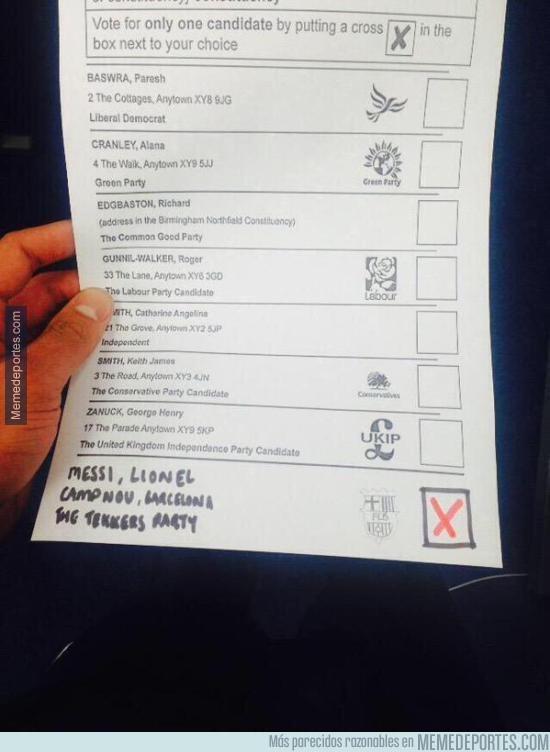 540452 - Una persona votó a Messi en las elecciones de Reino Unido