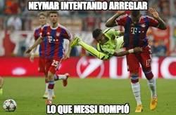 Enlace a Neymar intentando arreglar lo que Messi rompió