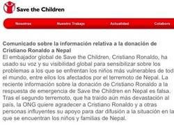 Enlace a Save the Children desmiente que Cristiano donara 7 millones a Nepal