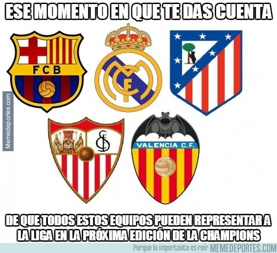 550033 - Si el Sevilla gana la final y el Valencia se mantiene 4to puede haber cinco españoles en Champions