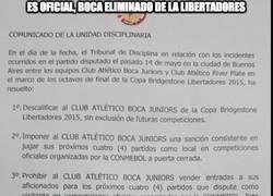 Enlace a Es oficial, Boca eliminado de la Libertadores