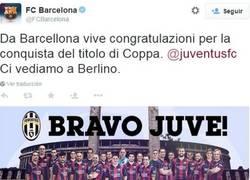 Enlace a La Juventus los felicitó en catalán por la Liga, ellos los felicitan en italiano por la Coppa