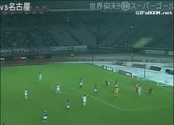 Enlace a GIF: Golazo de un entrenador en la liga japonesa