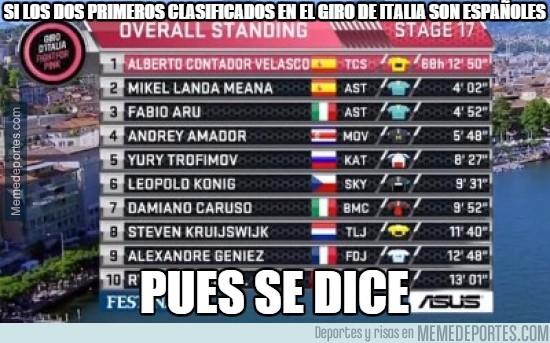 563816 - Si los dos primeros clasificados en el Giro de Italia son españoles