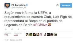 Enlace a El Barça sigue molesto con Figo y no vestirá su camiseta