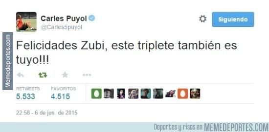 576243 - Tuit de Puyol dedicando la Champions a Zubizarreta