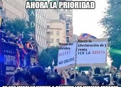 Enlace a La pancarta que había en la celebración del Barça