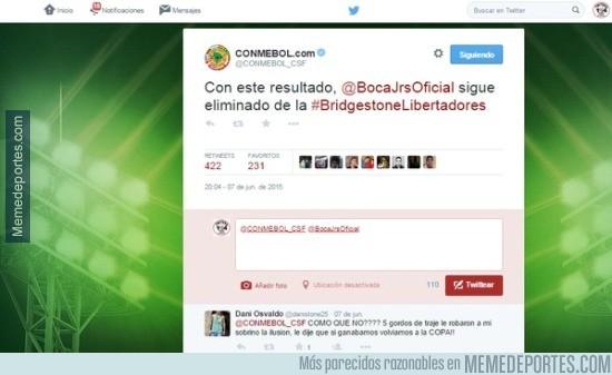 578152 - El twitter de la Conmebol se burla de Boca Juniors
