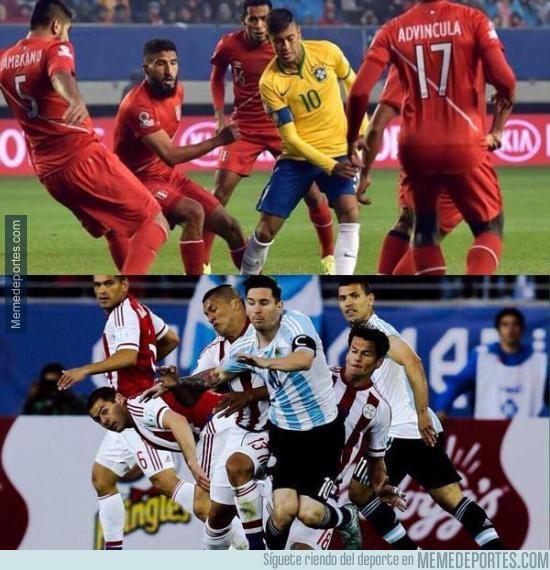 587119 - Los marcajes a Neymar y Messi en la Copa América