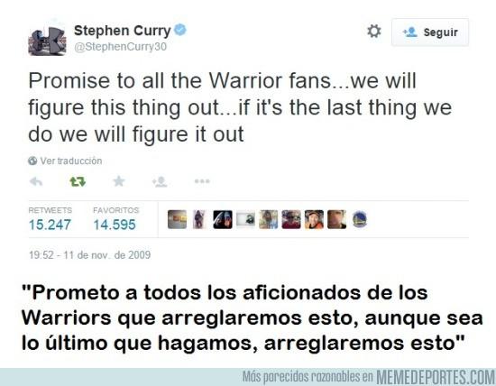 589625 - Ojo al Tweet que escribió Curry en 2009 cuando los Warriors eran últimos de la NBA