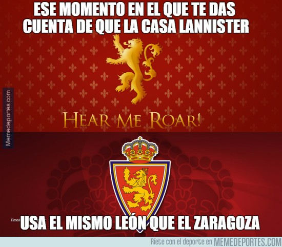 595539 - Curiosidad entre Games of Thrones y el Real Zaragoza