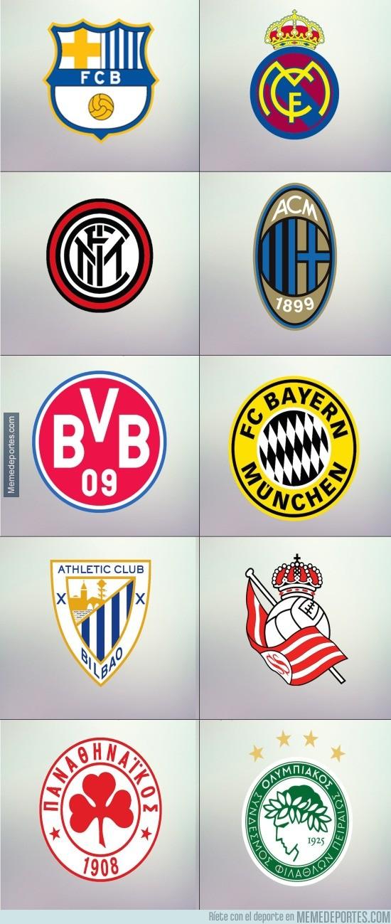 600990 - Algunos escudos de fútbol con los colores del máximo rival
