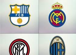 Enlace a Algunos escudos de fútbol con los colores del máximo rival