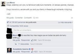 Enlace a Messi le da las condolencias a Maradona y Ronaldinho responde