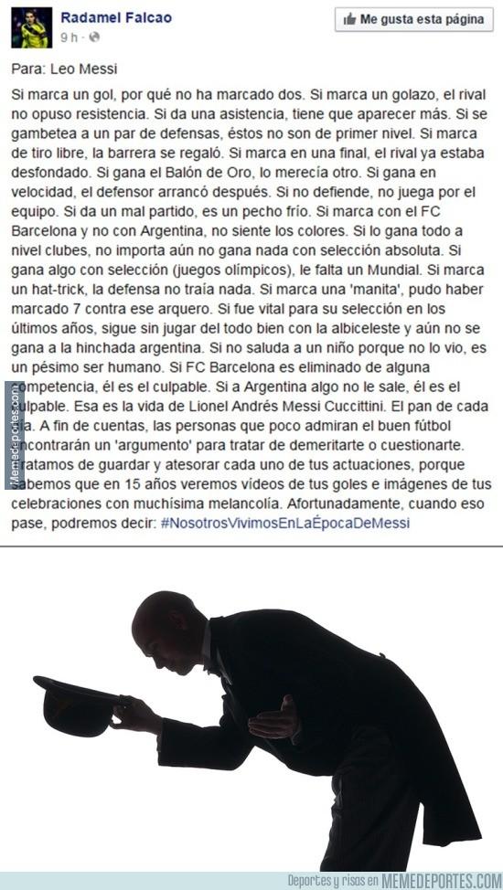 618737 - RESPECT: Gran mensaje de Falcao a Messi