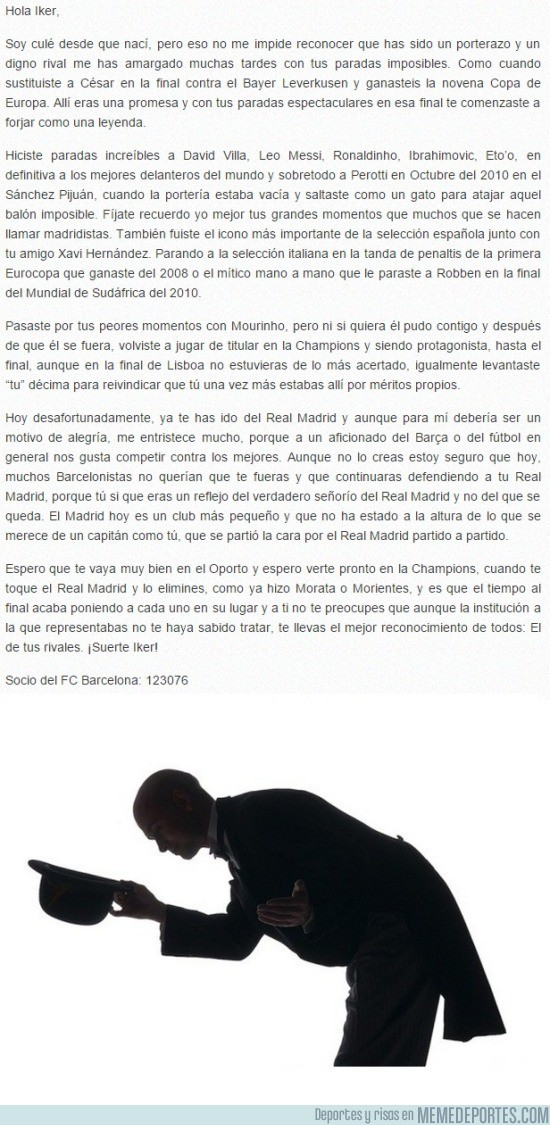 623058 - RESPECT: Emotiva carta de un culé a Iker