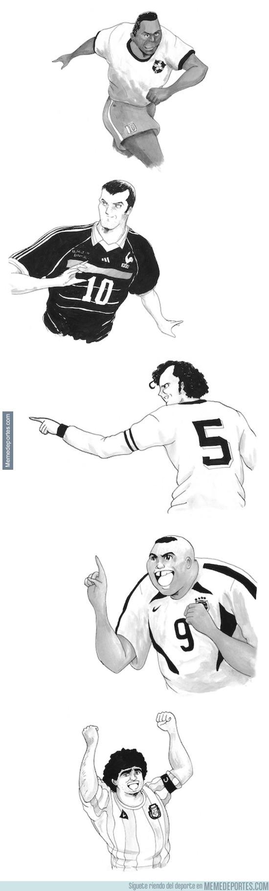 653964 - Jugadores históricos dibujados a lo Super Campeones