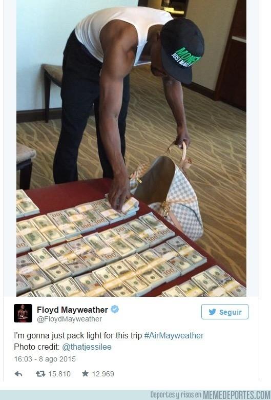 654060 - El polémico tweet de Mayweather. Le $obra el dinero