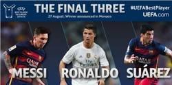 Enlace a Messi, Cristiano y Suárez, nominados a mejor jugador de la UEFA 2014/2015
