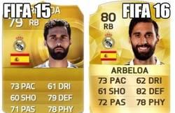 Enlace a EA subiendo la media a Arbeloa en FIFA16, como debe ser