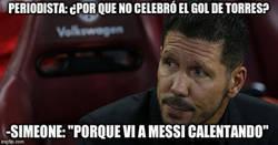 Enlace a La espectacular respuesta del Cholo a ¿Por qué no celebró el gol de Torres?