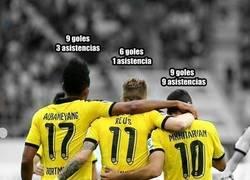 Enlace a Los extraordinarios números del tridente del Dortmund en 9 partidos