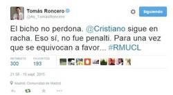 Enlace a Roncero admitiendo un error arbitral a favor del Madrid. Photoshop
