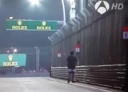 Enlace a GIF: Un espontáneo dándose un paseo por la pista del GP de Singapur en plena carrera