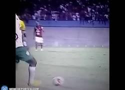 Enlace a GIF: Tremenda patada en la 3a división brasileña y éste se lleva nada más que tarjeta amarilla
