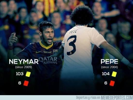 710905 - Impresionante la comparación de tarjetas entre Pepe y Neymar