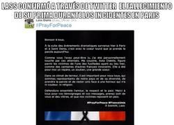 Enlace a El bonito mensaje de Lass en Twitter tras lo atentados en Paris