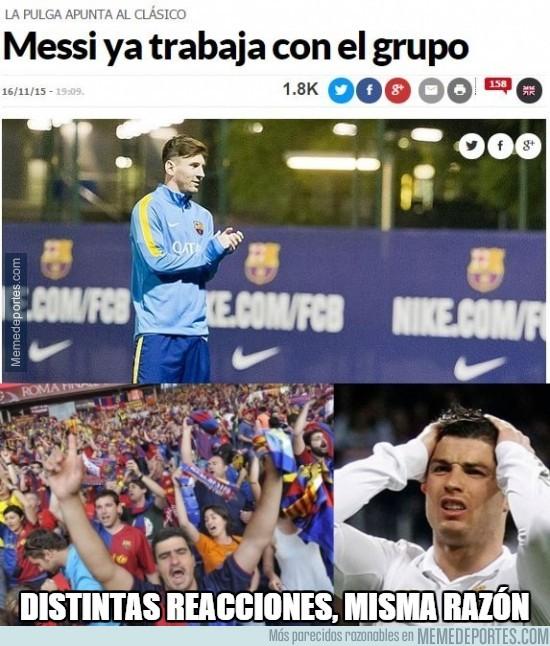 734597 - Distintas reacciones a esta foto de Messi entrenando con el grupo