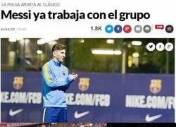 Enlace a Distintas reacciones a esta foto de Messi entrenando con el grupo