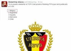 Enlace a Bélgica, arriba del todo en el próximo Ranking FIFA