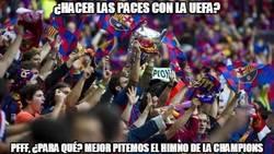 Enlace a Los aficionados del Barça siguen en guerra con la UEFA