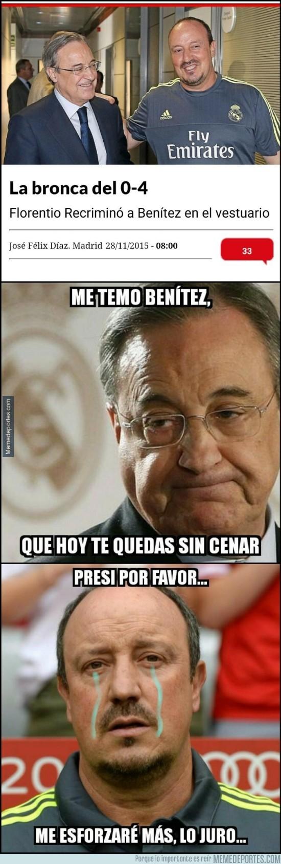 744890 - Florentino Pérez siendo muy cruel con Benítez tras el 0-4 del Barça