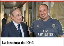 Enlace a Florentino Pérez siendo muy cruel con Benítez tras el 0-4 del Barça