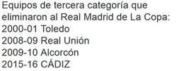 Enlace a Aquí los equipos pequeños que han eliminado al Real Madrid en Copa del Rey