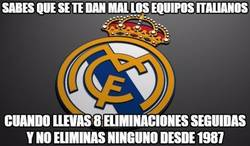 Enlace a El Real Madrid lleva 8 KOs (si, 8) consecutivos ante rivales italianos a doble partido
