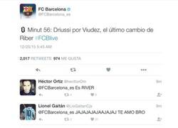 Enlace a El Barça llamando RiBer a River en Twitter