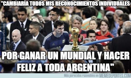 766116 - Messi cambiaría todos sus reconocimientos individuales por un Mundial