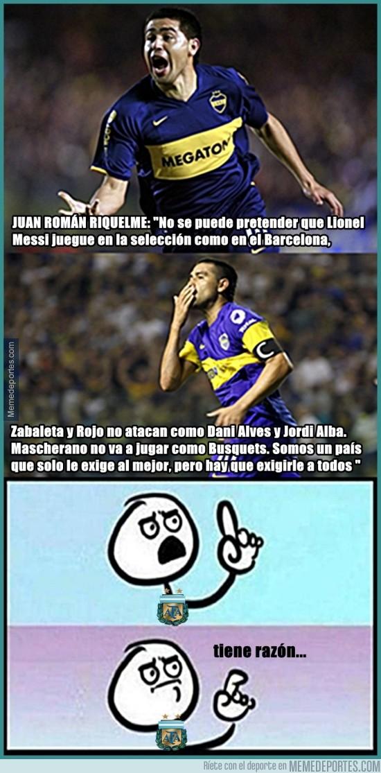 766871 - Juan Román Riquelme brinda su apoyo a Lionel Messi