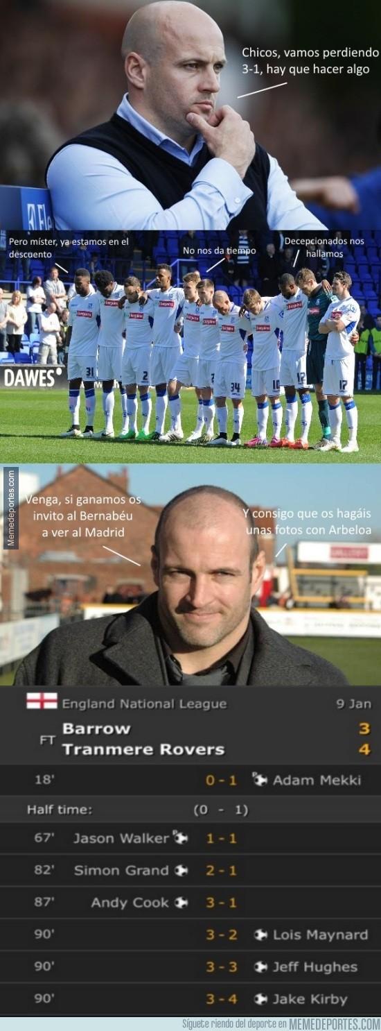 779129 - El entrenador del Tranmere Rovers sí que sabe motivar a sus jugadores