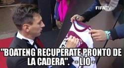 Enlace a Messi le envía un mensaje a Boateng.