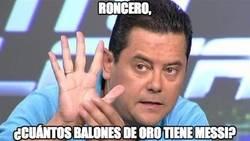 Enlace a Roncero, ¿cuántos balones de oro tiene Messi?